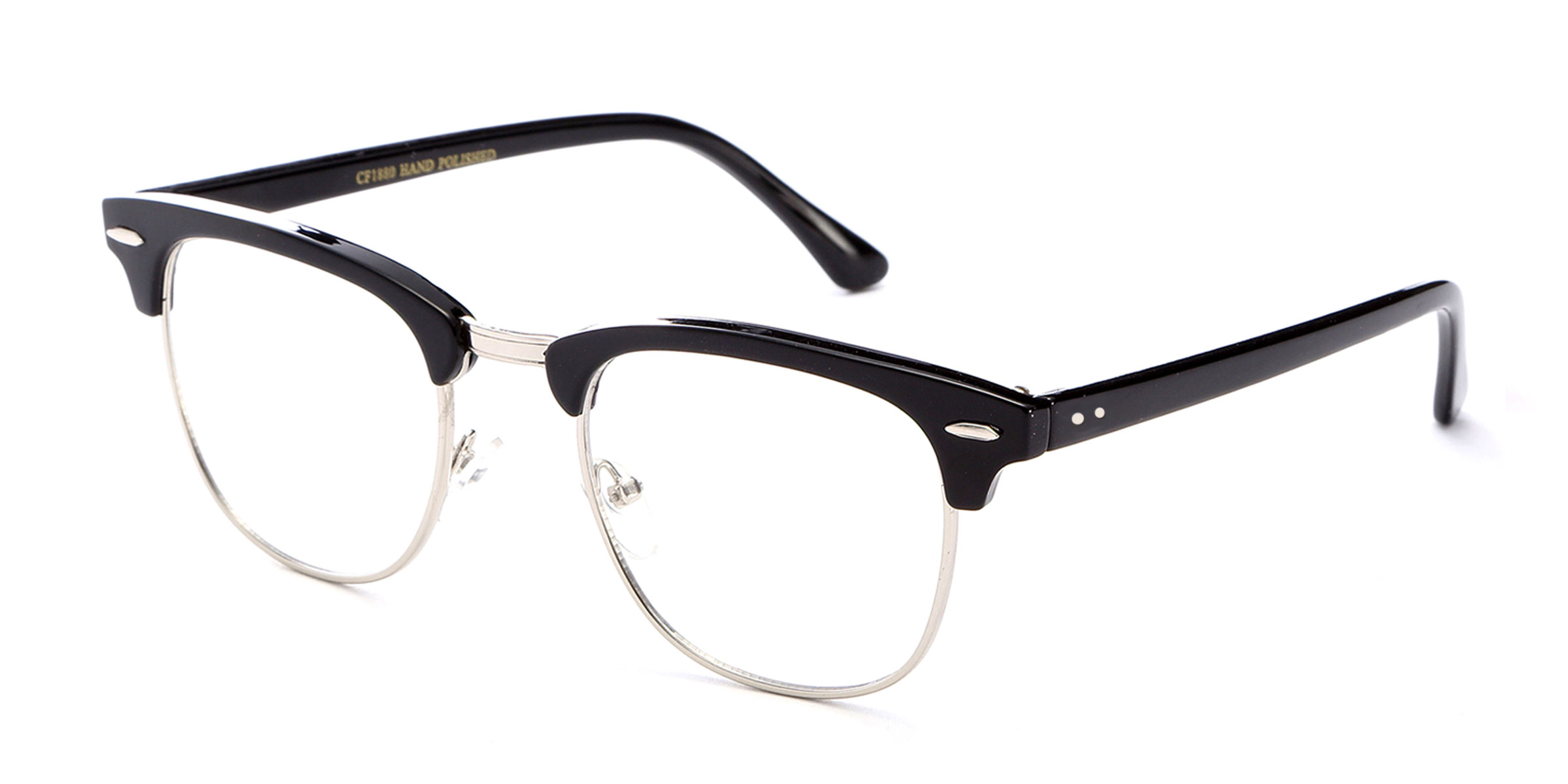 vintage style nerdy half frame reading glasses with metal